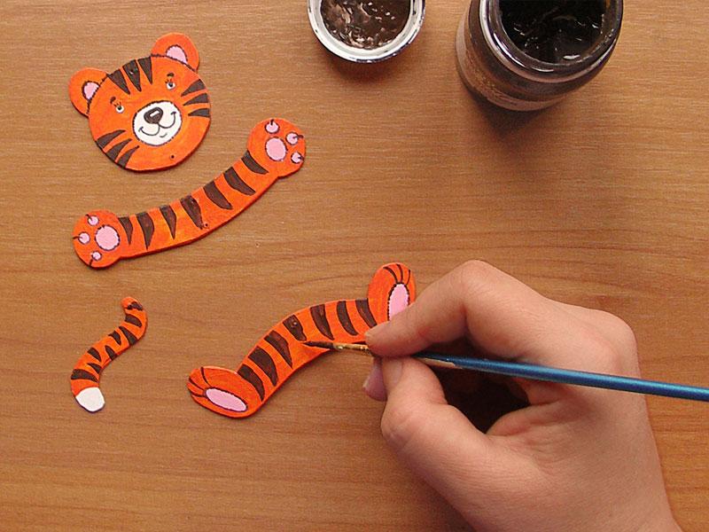 Как сделать из бумаги тигра маленького
