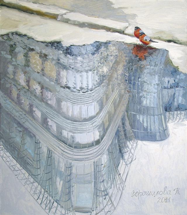 """Наталия Ворошилова """"Снегири"""". х., м., 80х70 см, 2013 г."""