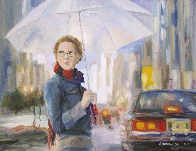 """Ворошилова Наталия. Картина """"Под зонтом"""". 70х90 см, холст, масло, 2013 г."""
