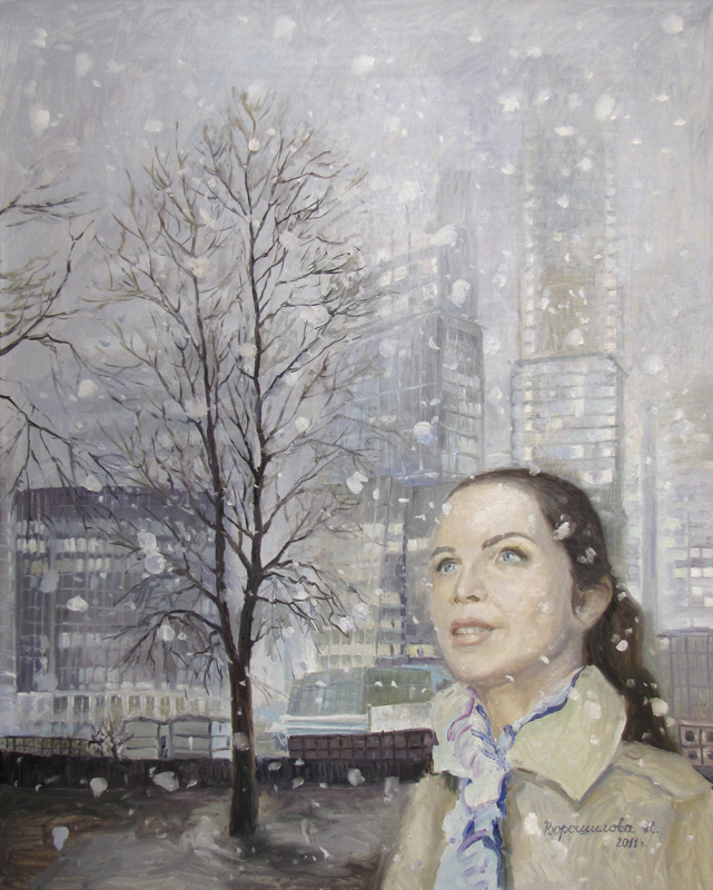Ворошилова (Новикова) Наталия. «Первый снег. Moscow City». 100х80 см, холст, масло, 2011 г.