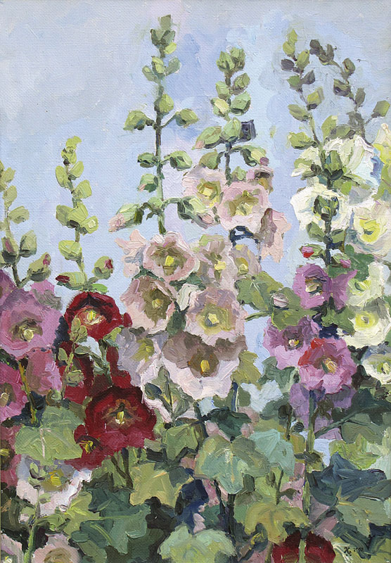 Картина Наталии Новиковой «Мальвы». Х.м., 50х30, 2003 г.