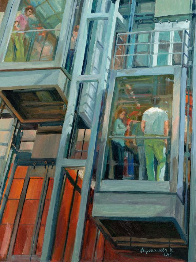 """Картина Наталии Ворошиловой """"Человеческий улей""""."""
