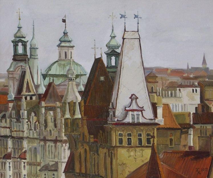 """Картина Наталии Новиковой """"Крыши Праги"""". Х. м., 450х60, 2005 г."""