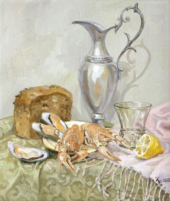"""Картина Наталии Новиковой """"Раки"""". Х., м., 40х35 см, 2005 г."""