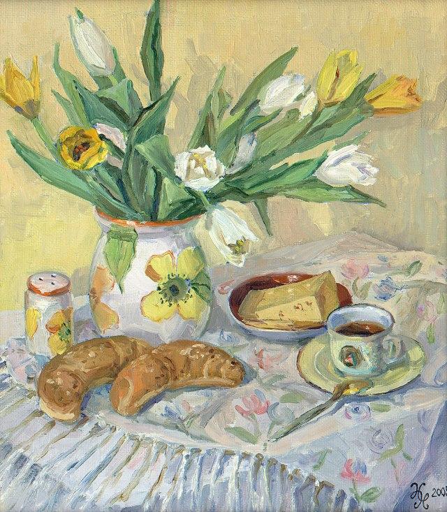 """Картина Наталии Новиковой """"Завтрак"""". Х., м., 40х35 см, 2005 г."""