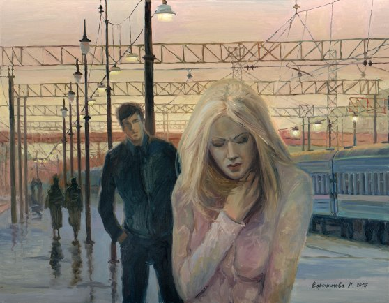 "Картина Наталии Ворошиловой ""Прости"". 70х90 см, х.м."